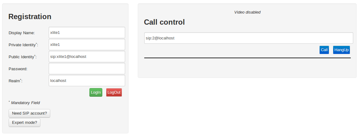 Registration and call control