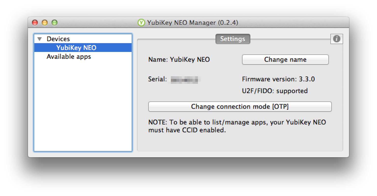 Yubikey Neo Manager main screen